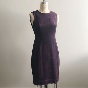 Calvin Klein 6 Purple Soft Suede Sleeveless Dress